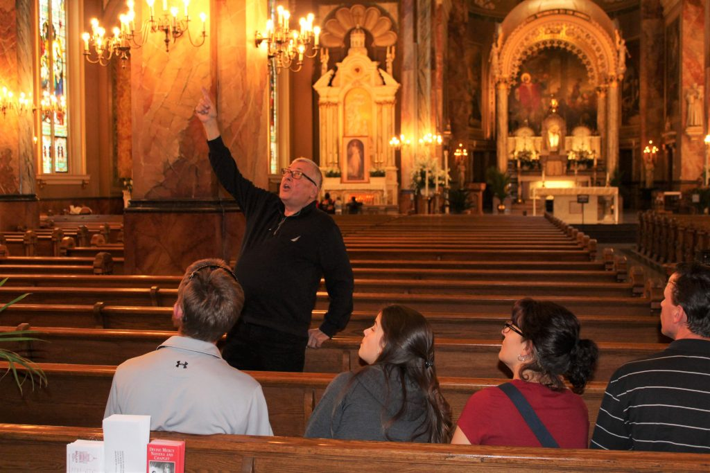 Ron teaches folks about the Basilica of St. Josaphat.