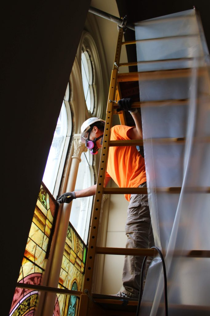 stained glass window removal