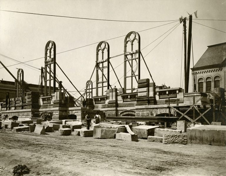 Historical photograph of church construction.