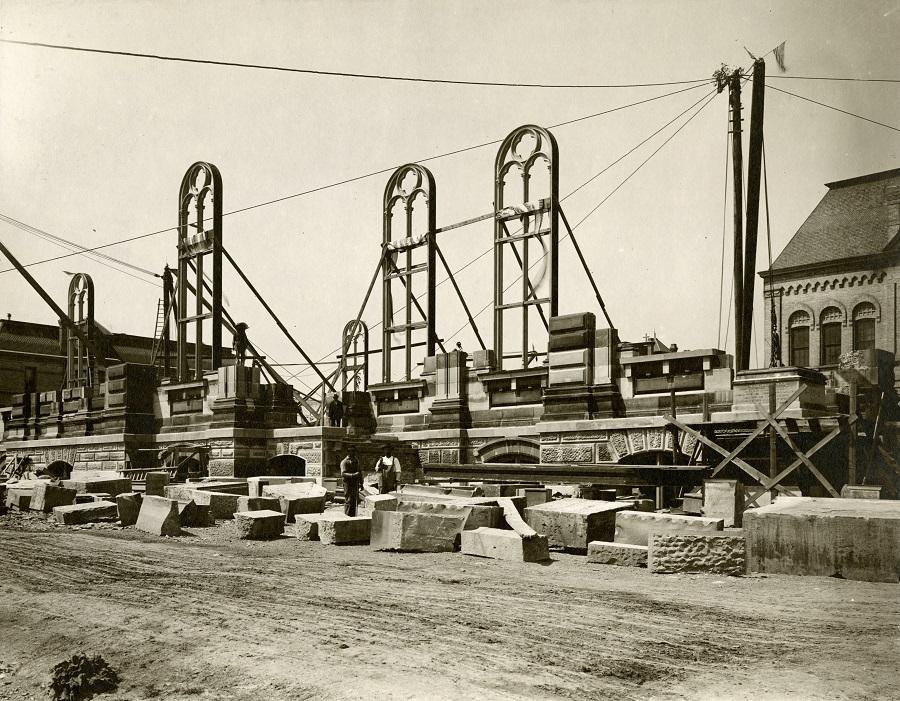 Historical photograph of church construction.