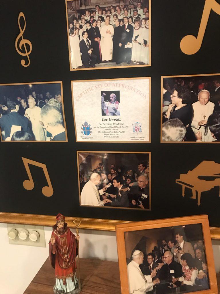 Image of mementos framed for display.